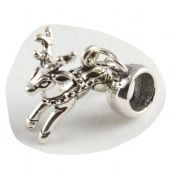 Reindeer 3D Sterling Silver Dangle Charm / Carrier Bead - Christmas